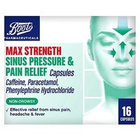 Boots Pharmaceuticals Max Strength Sinus Pressure and Pain Relief Capsules 16 - Caffeine, Paracetamol, Phenylephrine Hydrochloride