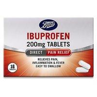 Boots Ibuprofen 200mg Tablets - 16 Tablets