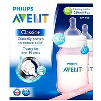 'Philips Avent Pink Edition Classic+ 2 Feeding Bottles 1m+ 260ml