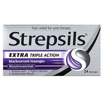 Strepsils Extra Triple Action Blackcurrant Lozenges - 24 lozenges