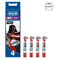 Oral B Kids Replacement Electric Toothbrush Heads Featuring Star Wars Characters 4 pack