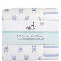 aden by aden + anais Flanel Blanket - Bunnies Blue