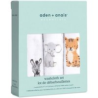 aden by aden + anais Muslin Washcloths 3 Pack - Safari Babies