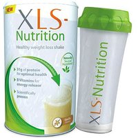 XLS Nutrition Vanilla flavour shake and Shaker