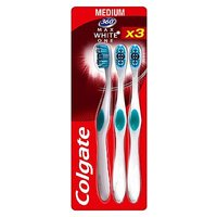 Colgate 360 Max White One Medium Toothbrush, Cheek & Tongue Cleaner 3 Pack