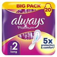 Always Platinum Long Plus (Size 2) Sanitary Towels Wings 20 Pads