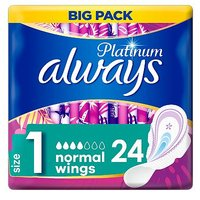 Always Platinum Normal (Size1) Sanitary Towels Wings 24 Pads