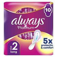 Always Platinum Long Plus (Size 2) Sanitary Towels Wings 10 Pads