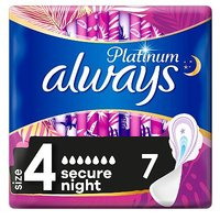 Always Platinum Secure Night (Size 4) Sanitary Towels Wings 7 Pads