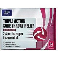 Boots Triple Action Sore Throat Relief 2.4 mg Lozenges - Cherry Flavour - 24 Lozenges