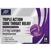 Boots Triple Action Sore Throat Relief 2.4mg Lozenges - Blackcurrant Flavour - 24 Lozenges