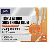 Boots Triple Action Sore Throat Relief 2.4mg Lozenges - Honey & lemon - 24 Lozenges