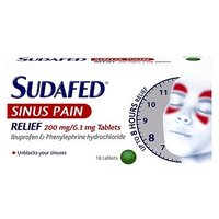 Sudafed Sinus Pain Relief 200mg/6.1mg Tablets - 16 Tablets