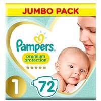 Pampers Premium Protection Size 1, 72 Nappies, 2-5kg