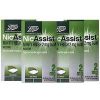 Boots Nicassist Minty Fresh 2 Mg Gum - 105 Pieces X4 Bundle