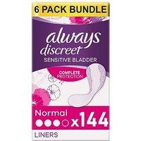 Always Discreet Liners - 144 Liners (6 pack bundle)