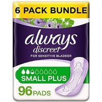 Always Discreet Small Plus Pads - 96 pads (6 pack bundle)