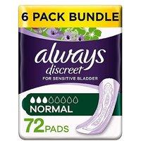 Always Discreet Normal Pads - 72 pads (6 pack bundle)