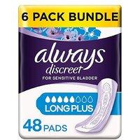 Always Discreet Long Plus Pads - 48 pads (6 pack bundle)