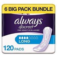 Always Discreet Long Pads - 120 pads (6 pack bundle)