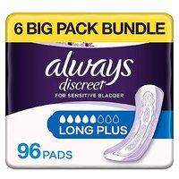 Always Discreet Long Plus Pads - 96 pads (6 pack bundle)
