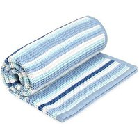 Mothercare Blue Striped Knitted Blanket