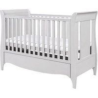 Bambini Roma Sleigh Cot Bed with Under Bed Drawer - Dove Grey