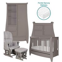 Bambini Katie 5 Piece Room Set - Cool Grey (Cotbed, Changer, Wardrobe, Pocket Sprung Mattress, Glider Chair)