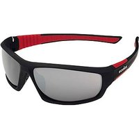 IRONMAN Sunglass Rubberized Black and Red Sports Wrap with Grey Flash Mirror lens Tint