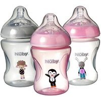 Nuby Combat Colic Feeding Friends Decorated Bottles 3 Pack 240ml