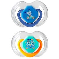 Image of Nuby Day and Night Dummies 6-18 months Twin Pack - Blue/Orange