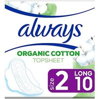 Always Organic Cotton Protection Ultra Long (Size 2)  Sanitary Towels Wings 10 Pads