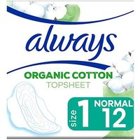 Always Organic Cotton Protection Ultra Normal (Size 1) Sanitary Towels Wings 12 Pads