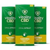 Vitality CBD 1200mg Lemon Flavour Oral Spray 30ml x 3 Bundle