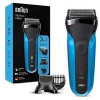Braun Series 3Shave&Style310BT Electric Shaver,Wet & Dry Razor for Men, Black/Blue