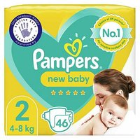 Pampers New Baby Size 2, 46 Nappies, 4kg-8kg, Essential Pack