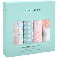 aden + anais essentials cotton muslin 4 pack swaddle blanket tropicalia