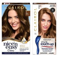 Clairol Nice n Easy Permanent Hair Dye and Root Touch-Up Bundle 6 Light Brown