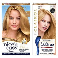 Clairol Nice n Easy Permanent Hair Dye and Root Touch-Up Bundle 8 Medium Blonde
