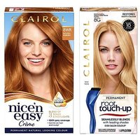 Clairol Nice n Easy Permanent Hair Dye and Root Touch-Up Bundle 8wr Extra Golden Auburn