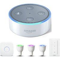 PHILIPS Hue White & Colour Ambiance GU10 Starter Kit & Amazon Echo Dot Bundle, White