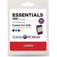 ESSENTIALS C526 Cyan, Magenta, Yellow & Black Canon Ink Cartridges - Multipack, Cyan