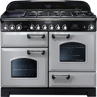 Rangemaster Classic Deluxe 110 Dual Fuel Range Cooker - Royal Pearl and Chrome