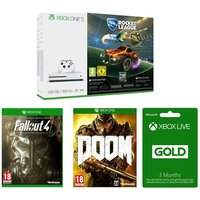 MICROSOFT Xbox One S, Games & Xbox LIVE Gold Membership Bundle, Gold