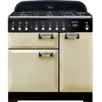 RANGEMASTER Elan Deluxe ELA90DFFCR 90 cm Dual Fuel Range Cooker - Cream and Chrome, Cream