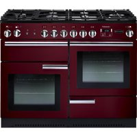 RANGEMASTER Professional 110 Dual Fuel Range Cooker - Cranberry and Chrome, Cranberry