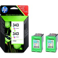 HP 343 Tri-colour Ink Cartridge - Twin Pack