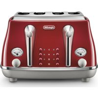 Buy DELONGHI Icona Capitals CTOC4003.R 4-Slice Toaster - Red, Red - Currys PC World