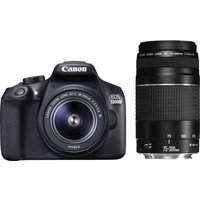 CANON EOS 1300D DSLR Camera with 18-55 mm DC III Zoom Lens and EF 75-300 mm f/4.0-5.6 III Telephoto Zoom Lens - Black, Black