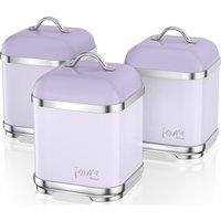 Swan Fearne By Swan Swka1025lyn Square 1.5 Litre Storage Canisters - Lily, Set Of 3